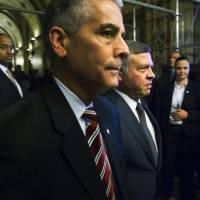 Jordanian King Abdullah arrives to meet with members of the U.S. Senate Foreign Relations Committee at the U.S. Capitol on Tuesday. He cut short his visit after Islamic State militants released a video purporting to show a captive Jordanian pilot being burned alive.   REUTERS