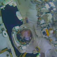 NASA astronaut Terry Virts, flight engineer of Expedition 42, is seen during a spacewalk outside the International Space Station, in this handout photo taken Wednesday provided by NASA. Station commander Barry 'Butch' Wilmore, 52, and flight engineer Virts, 47, completed everything on their to-do list and several tasks planned for another spacewalk on Sunday. They returned to the station's airlock to discover that water had leaked into Virts' helmet.   REUTERS