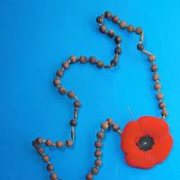 This handout image obtained Tuesday shows rosary beads and a poppy found in the underground chamber of a tunnel near Toronto's York University.   AFP-JIJI