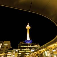 Kyoto Tower is illuminated in downtown Kyoto. A record-breaking tourism boom in the city has triggered a 'hotel war' among luxury inn chains.   ISTOCK