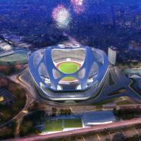 This rendering shows the new National Stadium, the main venue Tokyo plans to build for the 2020 Summer Olympics. | AP