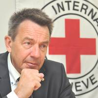 Peter Maurer, president of the International Committee of the Red Cross, is interviewed Thursday at the group's office in Tokyo. | YOSHIAKI MIURA