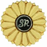 6. Labor and social security attorneys get a badge with a fusion design: a chrysanthemum emblazoned with the English letters S and R, representing the profession's name in Japanese: shakaihoken rōmushi. | JAPAN FEDERATION OF LABOR AND SOCIAL SECURITY ATTORNEYS ASSOCIATIONS