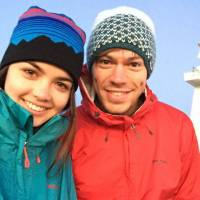 Before . . . : Dean Newcombe and Sofi Bevan are captured in a selfie at the start of their trek on Christmas Day in Choshi, Chiba Prefecture.
