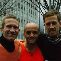Henry Kelly (right), Sales, 32 (English): For me it is a good way to be able to see my brother (Alex, left) and best friend (Oliver, center). They are both based in Hong Kong, so running the marathon can help bring family and friends together.