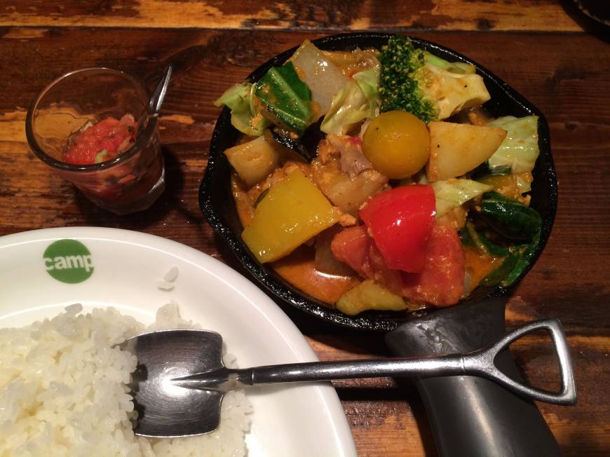 Dig in: Camp's curry rice features 13 vegetables. | ROBBIE SWINNERTON