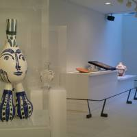 'Tripod' (left) and other selected ceramic works by Pablo Picasso are on public display at the Embassy of Spain in Tokyo through March 13. | CHIHO IUCHI