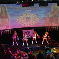 We got spirit: NFL cheerleaders perform during a Super Bowl viewing party on Monday. | KAZ NAGATSUKA