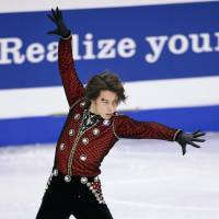 Time to perform: Takahito Mura skates during the men's short program at the Four Continents on Thursday.   KYODO