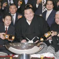 Head of the class: Hakuho clinched a record 33rd Emperor's Cup during the New Year Grand Sumo Tournament in January. | KYODO