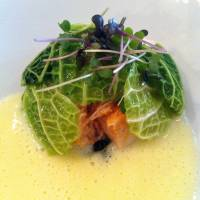 Monkfish liver wrapped in Savoy cabbage. | ROBBIE SWINNERTON