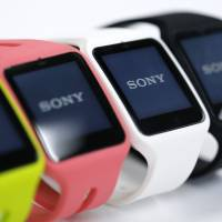 Sony Corp. SmartWatch 3 wearable devices sit on display during the Wearable Expo in Tokyo on Jan. 14. | BLOOMBERG