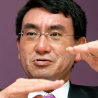 Liberal Democratic Party lawmaker Taro Kono is interviewed in 2006. Kono has said the yen is too weak and is squeezing companies with higher import costs.   BLOOMBERG