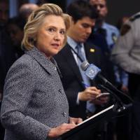 Former U.S. Secretary of State Hillary Clinton speaks during a news conference at the United Nations in New York on Tuesday. Clinton said she did not email any classified material to anyone while at the State Department. | REUTERS
