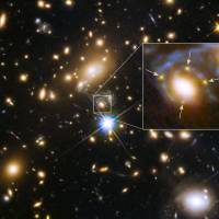 Multiple images of a single distant supernova within a cluster of galaxies called MACS J1149.6+2223, located more than 5 billion light-years away, are seen in an image from NASA taken by the Hubble Space Telescope and released March 5. In the enlarged inset view of the galaxy, the arrows point to the multiple copies of the exploding star, dubbed Supernova Refsdal, located 9.3 billion light-years from Earth. The images are arranged around the galaxy in a cross-shaped pattern called an Einstein Cross. The blue streaks wrapping around the galaxy are the stretched images of the supernova's host spiral galaxy, which has been distorted by the warping of space. | REUTERS