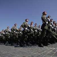Russian troops march across Red Square on May 9, 2009. Although the West will be poorly represented this year, 26 other leaders say they will attend. | BLOOMBERG