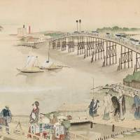 The first part of 'Sumidagawa Ryogan Keshiki Zukan' by ukiyo-e artist Katsushika Hokusai shows the landscape around the Ryogoku Bridge, connecting Tokyo's Chuo and Sumida wards. | SUMIDA WARD/KYODO