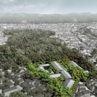 Shimogamo Shrine in Kyoto is planning to lease some of its land to condominiums, seen here superimposed on where they will be situated.   KYODO