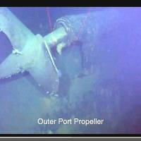A propeller from what is believed to be the Japanese battleship Musashi is seen in a video posted Saturday on YouTube by Microsoft co-founder Paul Allen. His team recently located the wreckage of the WWII vessel in Philippine waters. | KYODO