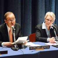 United Nations Secretary General Ban Ki-moon (left) and Margareta Wahlstrom, special representative for disaster risk reduction, attend a meeting on disaster prevention at U.N. headquarters on Wednesday. | KYODO