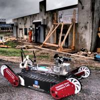 Quince is a rescue robot to be used to collect data in areas too dangerous for people.   HUMAN-ROBOT INFORMATICS LABORATORY