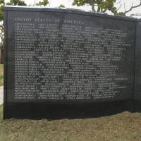 Huge sacrifice: The names of the 14,009 American service members who lost their lives in the Battle of Okinawa 70 years ago are etched into the Cornerstone of Peace in Itoman, Okinawa. | JON MITCHELL
