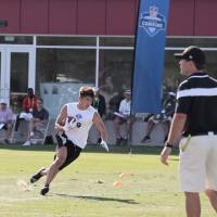Paying dues: Takashi Kurihara was pleased with his showing at the NFL Veterans Combine last week.   DOME CORPORATION