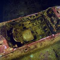 The cockpit of a fighter plane in the Fujikawa Maru at Chuuk Lagoon, Federated States of Micronesia   COURTESY OF THORFINN