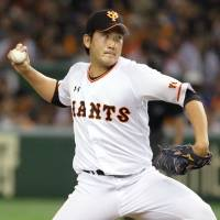 Let's get crazy: Reigning CL MVP Tomoyuki Sugano will lead the three-time defending CL champion Giants into battle this season. | KYODO