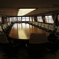 A conference table dominates the Shin Tokyo Maru's first deck.   KIT NAGAMURA