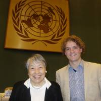 The former Japanese politician and Japan Women's Network for Disaster Risk Reduction Akiko Domoto (left), who spoke on behalf of Women's Groups at the Preparatory Committee Meeting for the Third UN World Conference on Disaster Risk Reduction in Geneva, poses with Sam Johnson from New Zealand who spoke on behalf of Youth. | UNISDR