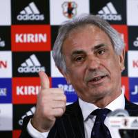 Trust me: New national team manager Vahid Halilhodzic gestures during his first press conference since being appointed to the job on Friday in Tokyo. | REUTERS
