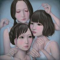 Tomoyoshi Sakamoto's 'Three Wise Girls: See No Evil, Speak No Evil, Hear no Evil (She dress up)' (2014)  | ART LAB TOKYO