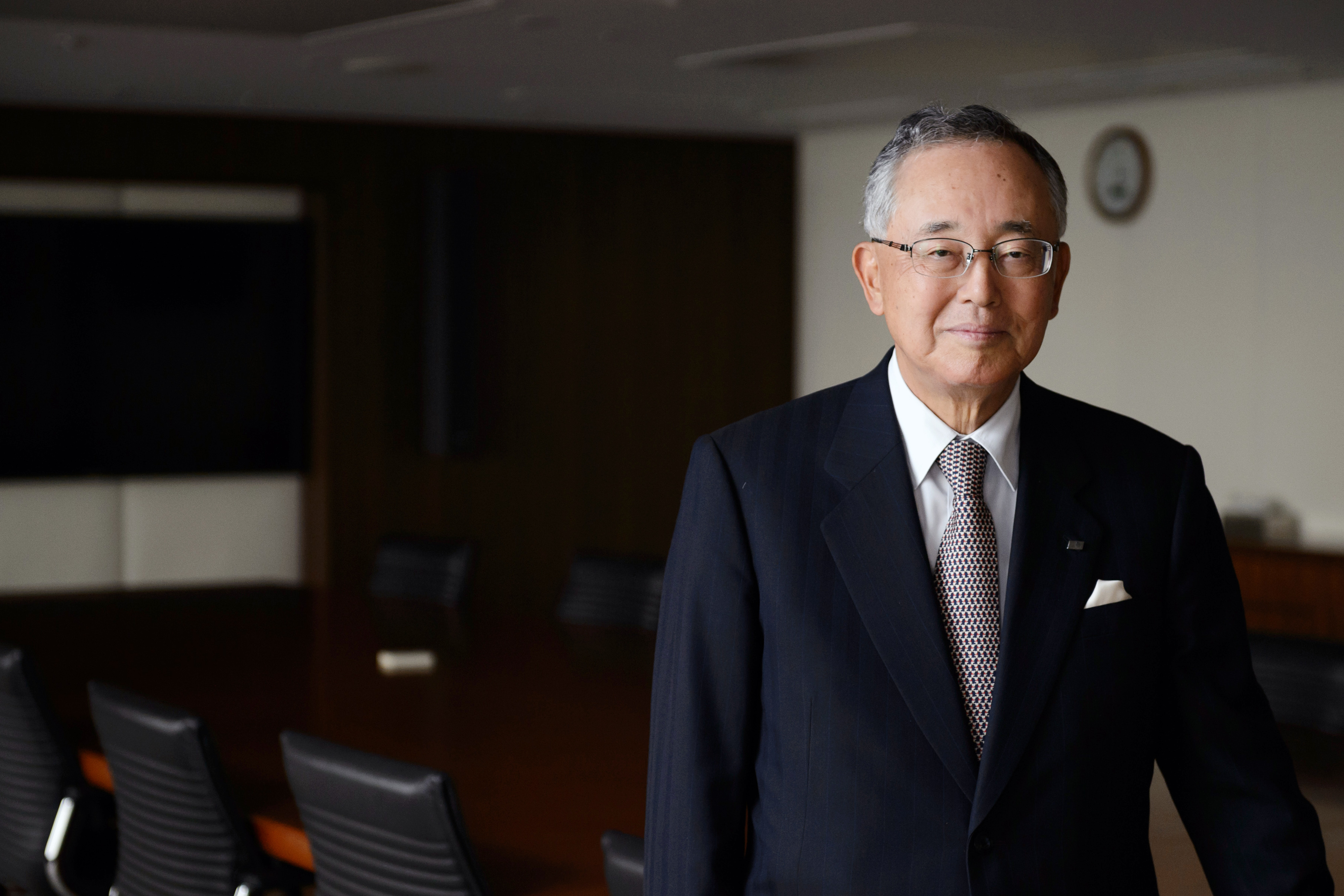 Yoshihiko Miyauchi, senior chairman of Orix Corp., poses for a photograph in Tokyo in March. He argues for a system in which short-term shareholders cannot influence corporate decisions.   BLOOMBERG