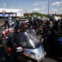 Russian bikers try to enter Poland for WWII memorial ride