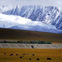 A passenger train travels the Qinghai-Tibet railway, about 100 km northwest of the city of Lhasa, in this file image from 2008. | JAN REURIK / CC-BY-SA-2.0