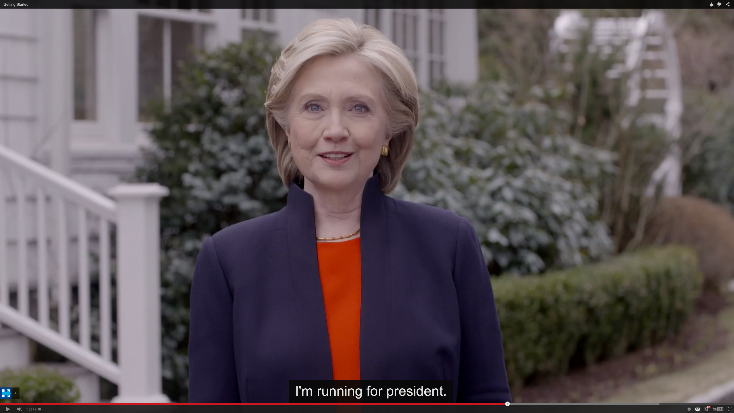 In this image taken from video posted to hillaryclinton.com on Sunday, Hillary Rodham Clinton announces her campaign for the presidency. The former secretary of state, senator and first lady enters the race in a strong position to succeed her rival from the 2008 campaign, President Barack Obama. | HILLARY FOR AMERICA / AP