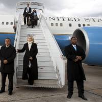 In this April 2012 file photo, then-U.S. Secretary of State Hillary Rodham Clinton arrives in Paris.  Clinton announced her second run for the presidency on Sunday, starting her campaign as the Democrats' best hope of fending off a crowded field of lesser-known Republican rivals and retaining the White House. | FILES / POOL / JACQUELYN MARTIN / REUTERS