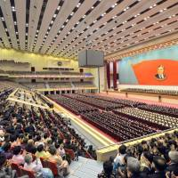 This picture taken by North Korea's official Korean Central News Agency on Tuesday shows a national meeting at the Pyongyang Indoor Stadium to celebrate the 103rd birth anniversary of the late President Kim Il Sung. | KCNA VIA KNS / AFP-JIJI