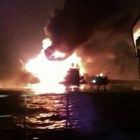 Mexican oil rig burns off coast; four dead, 16 injured