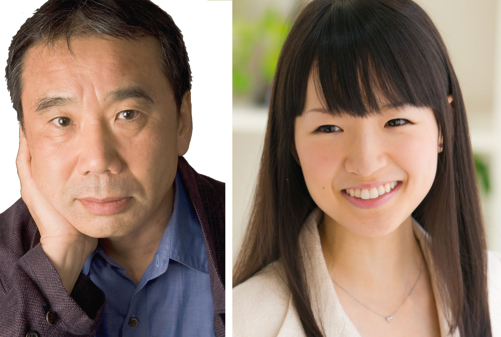 Time magazine listed novelist Haruki Marukami (left) and Marie Kondo, a lifestyle consultant, among the 100 most influential people in the world.   KNOPF (LEFT)