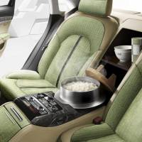 The latest model Audi A8 will come complete with a rice cooker, according to Audi Japan K.K., one of many Japanese firms to take part in April Fools' Day gags on Wednesday.   COURTESY OF AUDI JAPAN K.K.
