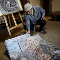 Fumiaki Kajiya, a 76-year-old retired schoolteacher, demonstrates how he uses hand-drawn 'picture shows' to share his experiences as an atomic bomb survivor, at his home in Hiroshima on March 27. Below left: Hiroshi Harada, a 75-year-old atomic bomb survivor and former head of the Hiroshima Peace Memorial Museum, poses in front of a cenotaph for victims of the 1945 bombing, in Hiroshima's Peace Memorial Park on March 26. Below right: Shigeo Ito, an 84-year-old Hiroshima survivor, displays on a laptop a family photo from 1944 that shows his late sister, Yuki (rear, third from left), who was killed in the blast, in Higashihiroshima, Hiroshima Prefecture, on March 27. | REUTERS