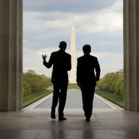 U.S. President Barack Obama and Prime Minister Shinzo Abe visit the Lincoln Memorial, looking toward the Washington Monument, on the National Mall in Washington on April 27. | AP