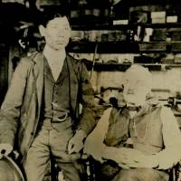 A photo found at a library in Massachusetts shows a man who could be Nakahama Manjiro (left) and a man who could be William Whitfield, the skipper of a 19th century whaling vessel that rescued Manjiro, who adopted the name John and is believed to have been the first Japanese to live in the U.S. | NEW BEDFORD FREE PUBLIC LIBRARY / KYODO