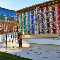 Sake barrels are set up in front of the Japan Pavilion of Expo Milano 2015 on April 20. | KYODO