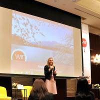 Kristin Engvig, the founder of Women's International Networking Conference, addresses participants at the fifth annual event in Japan, at a Tokyo hotel on April 9. | YOSHIAKI MIURA