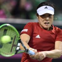 Comeback begins: Ayumi Morita, who has been hampered by a lower back injury for the past three years, played well in Japan's Fed Cup tie with Belarus last weekend. | AFP-JIJI