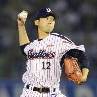 Pitch perfect: Right-hander Taichi Ishiyama is one of the Yakult pitchers enjoying a strong start to the NPB season. | KYODO