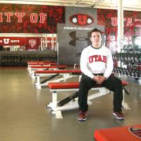 Self improvement: James Gray poses at the Utes football team training facility. | KAZ NAGATSUKA